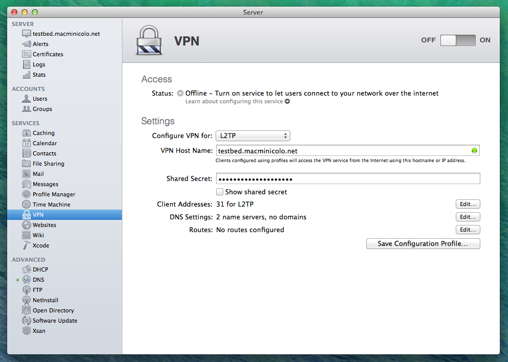 Configure a VPN service