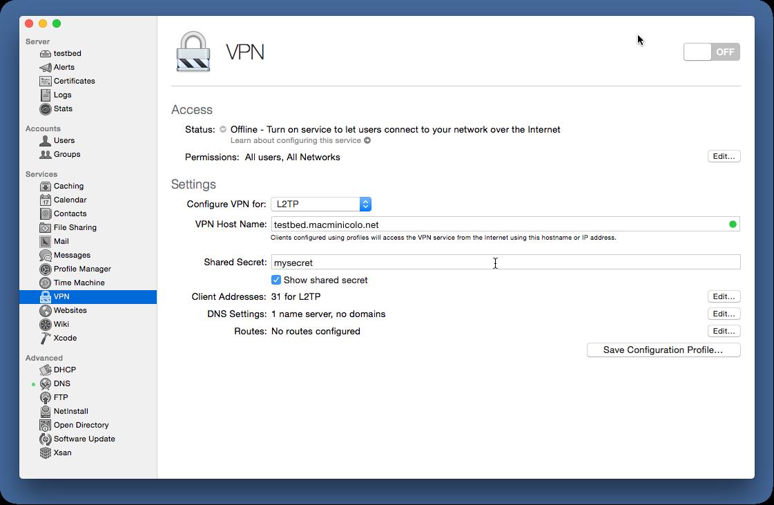 Setup a VPN server with El Capitan server 10 11